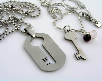 Matching Couple Necklaces, Boyfriend Girlfriend Necklaces, Couple Jewelry, Lock and Key Necklace, Dog Tag Boyfriend Girlfriend, N1511