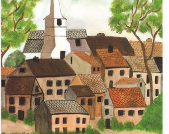 FRENCH TOWN Church Watercolor Giclee Print Unframed Double Mat Matted Limited Edition Numbered