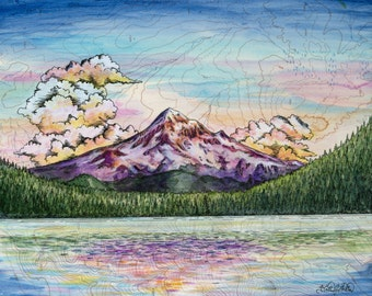 Mt Hood in Summer from Lost Lake, Mount Hood painting print Mountain illustration, Oregon mountain print, sunset wilderness mountain art