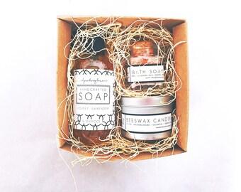 Spa Gift Set for Women, Self Care Kit, Bath Salts, Lavender Soap, Olive Oil Soap, Spa Set for Mom, Spa Set Gift for Her, Stress Relief Gift