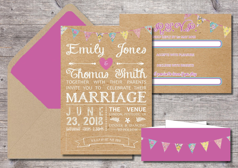 Bunting Wedding Invite: Printable Kraft Bunting Wedding Invitation