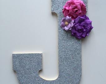 "Large Glitter Letters (10""), Silver, Glitter Initials, Nursery Decor, Wall Decor, Sparkle, Glitter Party"
