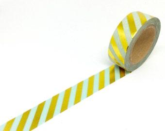 Mint & Gold Foil Stripe Washi Tape