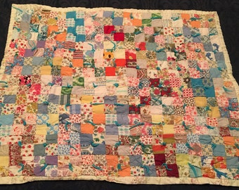 Vintage Hand Stitched Hand Tied Patchwork Baby Doll Cradle Quilt Bunnies Bears 24 x 19