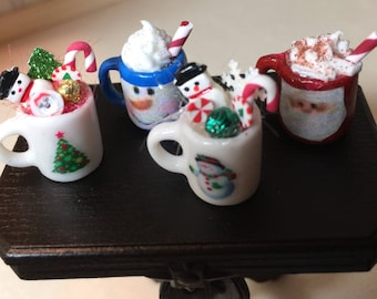 Choice of Four Different Styles of Decorated Christmas Mugs in One Inch Scale for a Dollhouse