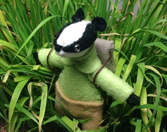 Stuffed badger with backpack and matchbox bed felt animal hand made doll woodland animal woodland softie stuffed toys badger plushie