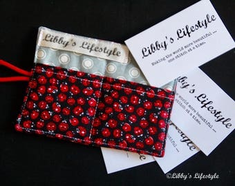 Lady Beetles Credit card holder - Handmade Business card wallet - Small credit card wallet.