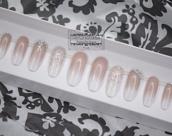 Ombre Nails with Stamped Lace & Swarovski Crystals   Any Shape