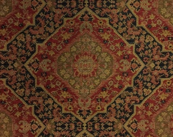 Black - Red - Gold -  Bidjar Red - Upholstery Fabric By The Yard