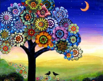Blooming Tree crows birds  flower collage painting giclee print