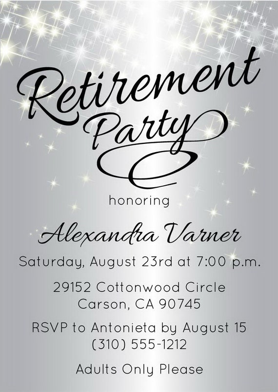 Silver Retirement Party Invitation | Elegant Retirement Invitation |  Sparkly Invitations | Customized Invite