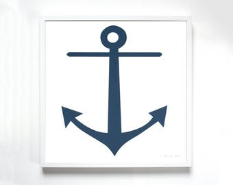 Anchor Screenprint - navy blue for the sailor at heart