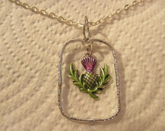 Purple and Green Thistle Silver Pendant with or without Chain