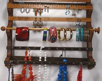 Distressed Barnwood Hanging Combo Earring Bracelet Necklace Holder Jewelry Storage Jewelry Display Jewelry Holder Jewelry Organizer