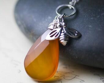 "Dark Amber Chalcedony Honeybee Charm Sterling Silver Necklace - ""Honeybee"""