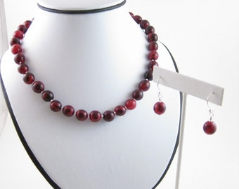 Set with Necklace and Earrings Cranberry red with silver, Sterling Silver, Jewelry by Informal Elegance on Etsy, S 1007