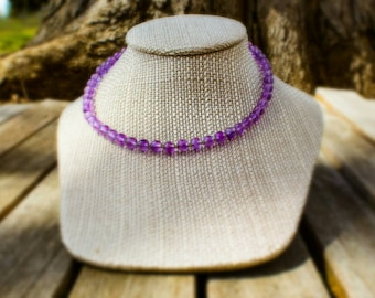 SALE! 10% off! Amethyst and seed bead necklace
