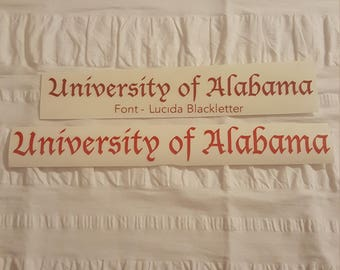 University of Alabama window decals made to order.