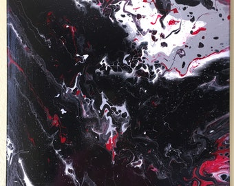 Electrify the Darkness-Acrylic Pour Painting 16 x 20 - One of A Kind-Original-Fluid Art