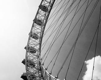 The London Eye - London, England, UK, Ferris Wheel, Sky, Urban, Street Photography, Black and White, Fine Art Photograph