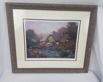 """Sergon Signed Limited Edition """"Cissies Place"""" Lithograph Cottage Meadow Framed"""