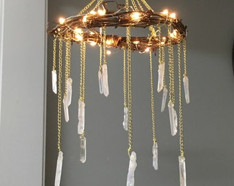 Crystal Mobile- Crystal Point Bohemian Mobile- Quartz Point Crystal Chandelier - Rustic Lighted Chandelier- Bohemian Home Decor- Wedding
