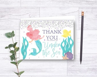 DOWNLOADABLE Little Mermaid Thank You Card, Mermaid Thank You, Mermaid Birthday Thank You Card, Ariel Thank You Card, Girl Thank You, DIY