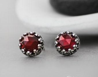 Garnet Stud Earrings, Red Stud Earrings, Filigree Silver Stud Earrings, Gemstone Earrings, Stud Earrings for Women, Rose Cut, 6mm