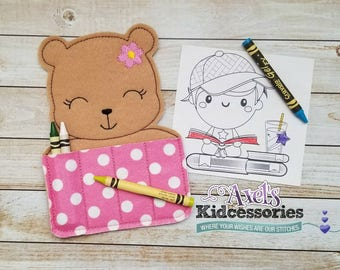 Baby Girl Bear Crayon Holder - Cute Bear Crayon Caddy - Coloring Pencils Holder - Accessories for Kids - Candy Coloring Holder - Party Favor