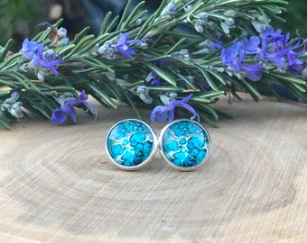 Turquoise Watercolor Stud Earrings || Stud Earrings || Watercolor Earrings || Blue Earrings || Gift for her