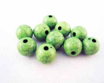 PAC65 - 10 beads, green Crackle, 10mm in diameter