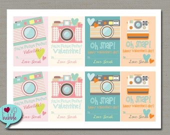 Tween Camera Photographer Instagram Photography Picture Valentines, Valentine Cards - PRINTABLE DIGITAL FILE - 8.5x11 set of 8