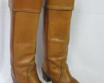 Tall Brown Leather Frye Campus Boots Size 6 1/2 B 8510