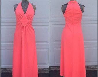 60's Bubblegum Pink Halter Maxi Dress    Vintage Empire Waist Full Length Dress, Medium