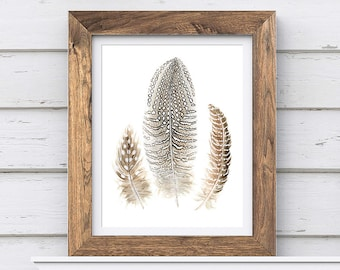 Feather Print, Digital Download of Original Watercolor Art, Printable Art, Gray Brown Feather Painting, Nature Art, Wall Art Feather Art #17