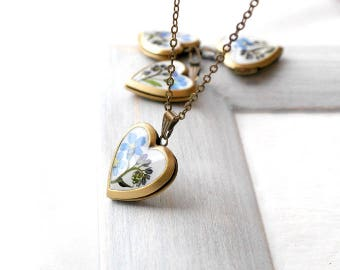 Flower locket necklace Birthday gift locket pendant Heart locket Small locket Girlfriend necklace for mom necklace keepsake Memory necklace