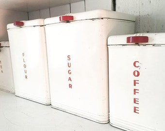 Set of 4 Kreamer White and Red Kitchen Canisters; Sugar, Flour, Tea, Coffee