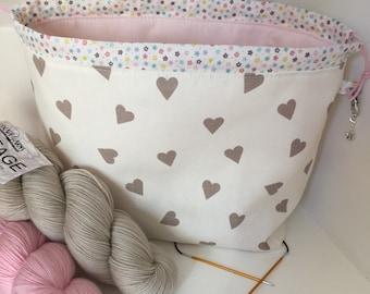 Knitting project bag / taupe love hearts  large drawstring knitting / crochet project bag