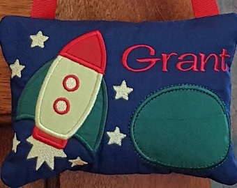 Personalized Tooth Fairy Pillow Boy Space Ship, Spaceship Personalized Tooth Pillow, Rocket Ship Tooth Pillow, Loose Tooth, ToothFairy
