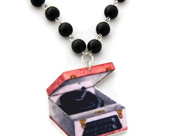 Retro Necklace, Record Player and Black Pearls, Rockabilly, Pinup, 40s, 50s, Cute Jewelry, Rock N Roll