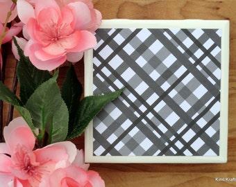 Tile Coasters - Ceramic Coasters - Ceramic Tile Coasters - Coaster Set - Table Coasters - Black and White Coasters - Coaster