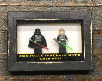 The Force is Strong with this One Darth Vader Luke Skywalker Star Wars Comic Lego Figurine Wall Display Picture Frame Toy Art