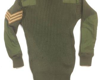 1970s Men's British Army Green Wool Jumper