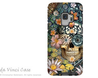 Floral Sugar Skull Case for Samsung Galaxy S9 - Day of the Dead S9 Case with Art - Bali Botaniskull - Dual Layer Case by Da Vinci Case