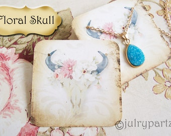 24•FLORAL SKULL•Necklace and Earring Cards•Jewelry cards•Necklace Card•Display•Earring Holder•Necklace Holder•Boho•2x2 or 3x3