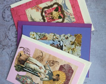 """Vintage style Steampunk cards """"fashionable flowers"""" set"""