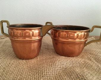 Scandinavian Vintage Copper Sugar Bowl and Creamer, Copper Cream and Sugar Set.