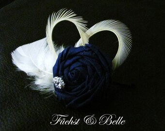 Navy Blue Bridal Fascinator, Wedding Headpiece - Blue silk rosette with Ivory goose feathers and rhinstone