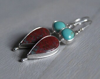 Baja, Natural Turquoise and Sonora Sunrise drop earrings