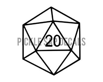 D20 | Dungeons and Dragons | Custom | Vinyl Decal | Car | Cup